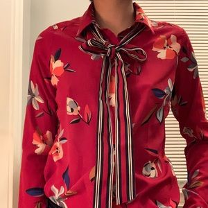Red floral button up with neck tie